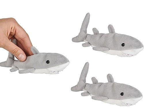 ADVENTURE Planet - Three (3) 6'' Plush GREAT White SHARKS Mini Stuffed Animal - OCEAN Life - Soft Cuddly Shark Week TANK TOY Gift PARTY Favors PRIZES by JUST 4 FUN