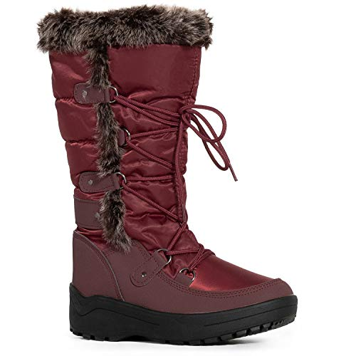 (RF ROOM OF FASHION Women's Waterproof Warm Fur Lined Cold Weather Snow Rain Boots Premium Wine Nylon SIZE11)