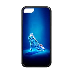 Cinderella 2015 Glass High Heel Shoe Custom Case Cover for iPhone 5C TPU (Laser Technology)