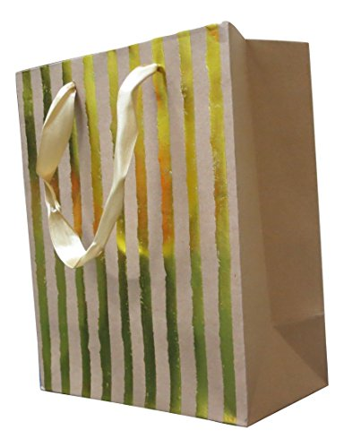 Style Design (TM) Dozen Gift Bags - 12 Beautiful Medium Kraft Gift Bags for Presents, Parties or Any Occasion With Hot Stamp (Medium, Gold)