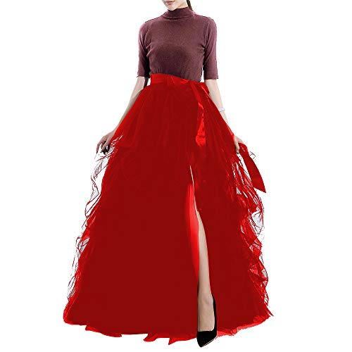 TOAH Women's Long Tutu Tulle Skirt A Line Floor Length Black Special Occasion night out fold Skirt3X-Large Wine Red ()