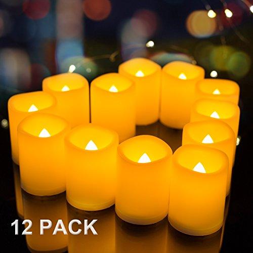 Set of 12 Realistic Flickering Flameless Candles Unscented – Amagic Melted Edge Ivory LED  ...