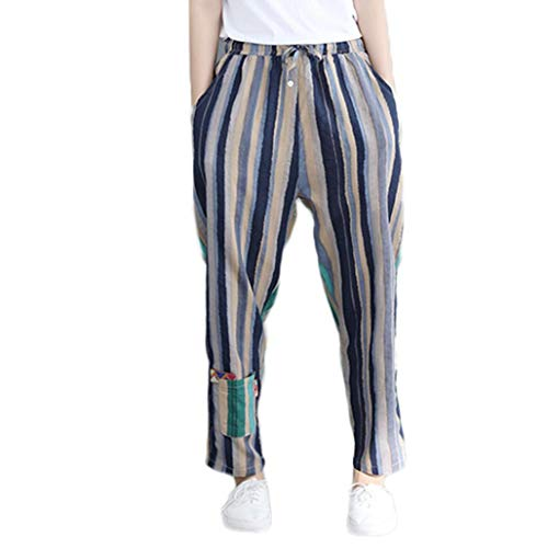 Alimao 2018 Autumn Pants for Womens Cotton Plus Size Pockets Stripe Plaster Splicing Easy Haren Pants