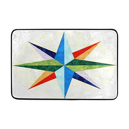 (LORVIES Mariners Compass Doormat, Entry Way Indoor Outdoor Door Rug with Non Slip Backing, (23.6 by 15.7-Inch))