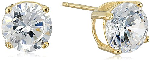 18k Yellow Gold-Plated Sterling Silver Round Cut Cubic Zirconia Stud Earrings (3 cttw) (Round Earrings Band)