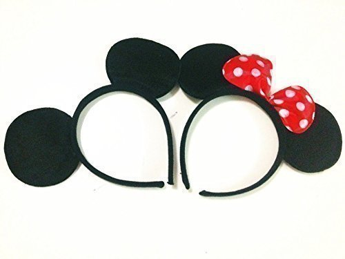Mouse ears headband Children birthday party supplies Mom Baby Hairs Accessories Girl Headwear party decoration baby shower Halloween Set of 2 by Norbis Party Supplies ()