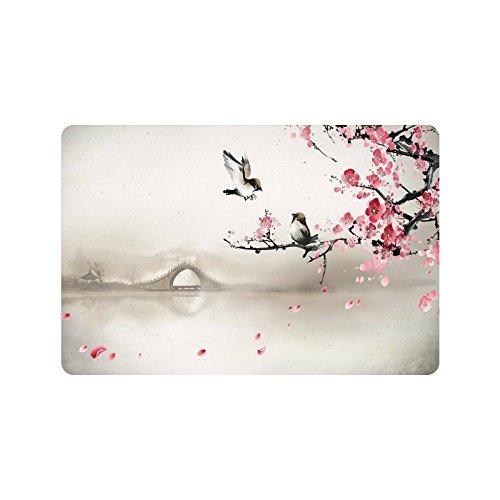 Cherry Blossom Doormat Entrance Mat Floor Mat Rug Indoor/Outdoor/Front Door/Bathroom Mats Rubber Non Slip Size 23.6 x 15.7 inches