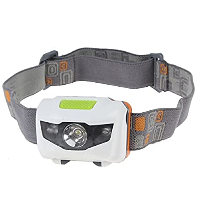 WindFire MINI 400 Lumens CREE XM-L Q5 3 x LED(1 White + 2 Red)) Waterproof 4 Modes Headlamp CREE LED Headlight AAA Battery Head LED Lamp Torch Flashlight LED Headlamp for Outdoor Hiking, Riding, Fishing, Hunting, Camping(Batteries not included)