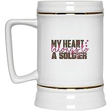 My Heart Belongs To A Soldier-Soldiers Girlfriend Boyfriend Beer Stein