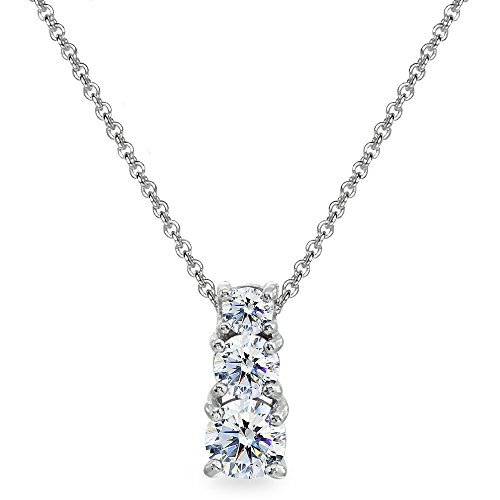 GemStar USA Sterling Silver Round Graduating Three Stone Pendant Necklace Made with Swarovski Zirconia