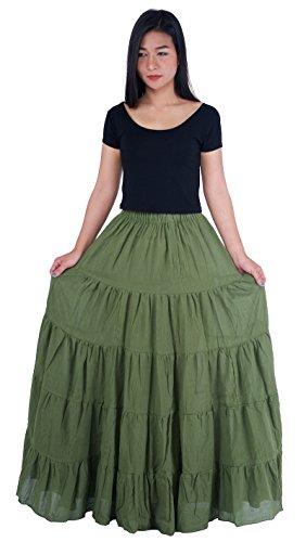 Lannaclothesdesign Women's Cotton Long Ruffle Full Circle Long Skirts Maxi Skirt One Size Green ()