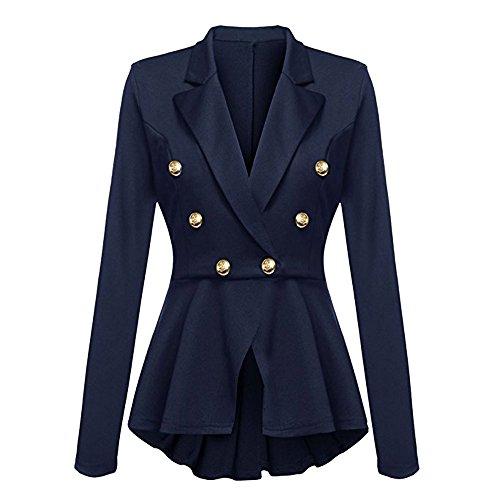 Casual Blu Giacca Lunghe Donna Maniche Arricciature A Con Alla Peplum Coat Da Outwear Button Jacket Blazer Moda 7ra7w