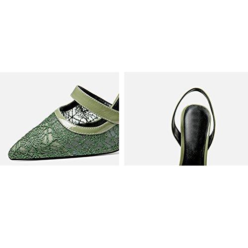 JIANXIN Lace High-Heel Sandaletten Frauen Baotou Leder Stiletto Heeled Air Air Air Sommer Sommer Hohlen Damenschuhe (größe   EU 39 US 8 UK 6 JP 25cm)  3c4179