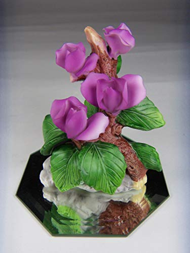 Cosmos Gifts Fine Elegant Porcelain Purple Lilac Color Sweet Pea Flower on Mirror Figurine, 3