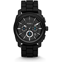 Fossil Men's Machine Quartz Stainless Steel and Silicone Chronograph Watch, Color Black (Model: FS4487)