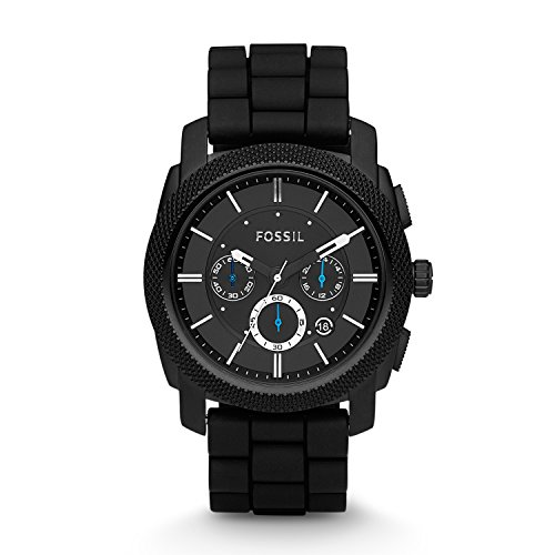 (Fossil Men's Machine Quartz Stainless Steel and Silicone Chronograph Watch, Color: Black (Model: FS4487))