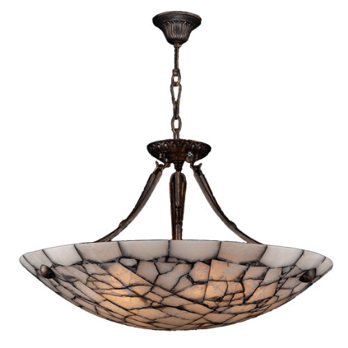Worldwide Lighting Pompeii Collection 5 Light Flemish Brass Finish and Natural Quartz Bowl Pendant 24