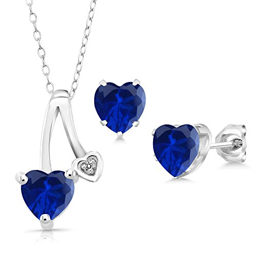 2.41 Ct Blue Simulated Sapphire White Diamond 925 Silver Pendant Earrings Set