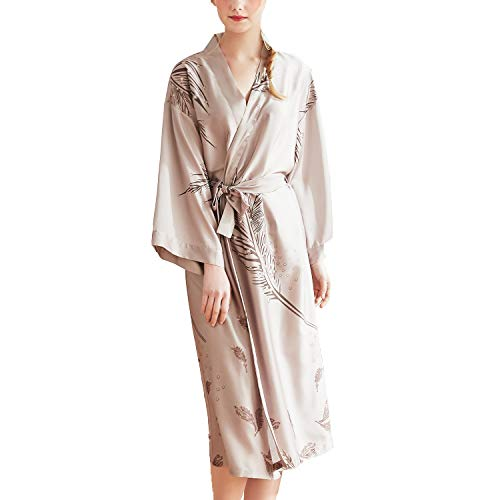 Lu's Chic Women's Satin Kimono Robe Long Silky Luxurious Nightgown Soft Spa Hotel Loungewear Khaki US XL ()