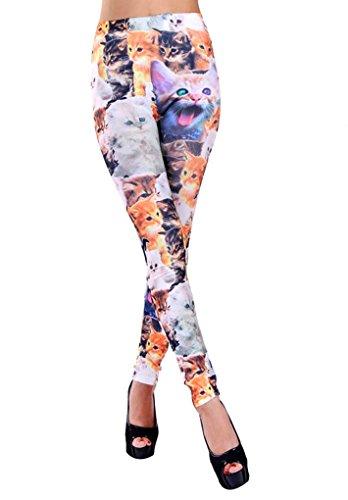 Simplicity Women Lady Punk Style Cat Print Skinny Legging, 3090_Cat