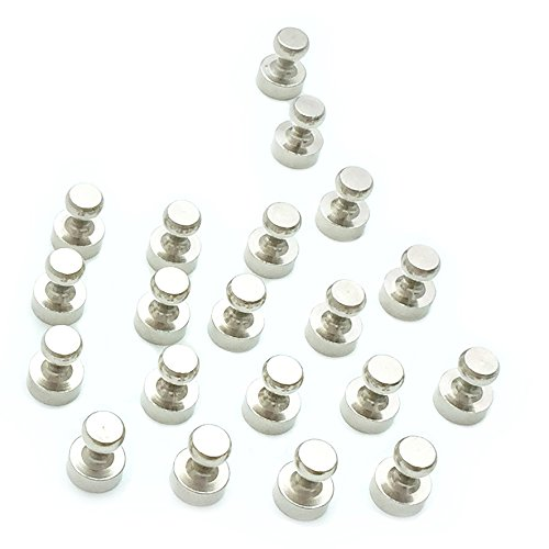 20 Metal Magnetic Push Pins Silver Color - Your Essential Map Magnets, Push Pins, Thumb Tacks, Labels, Hooks Or Holders For All Magnet-Friendly Surfaces - Strong, Solid, User-Friendly