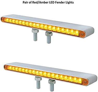United Pacific 1 Amber LED//Red LED 17 LED Double Face Light Turn Signal Semi Truck Fender