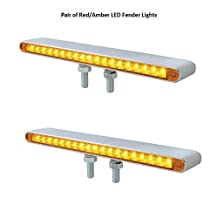 "Pair of 12""L 19 LED Red/Amber Double Face Truck Semi Trailer Light Bars"