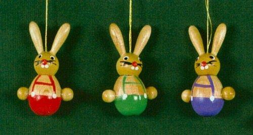 Erzgebirge Easter Bunny German Wood Ornaments Set 3