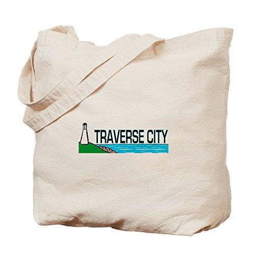 CafePress - Traverse City, Michigan - Natural Canvas Tote Bag, Cloth Shopping - City Traverse Shopping Michigan