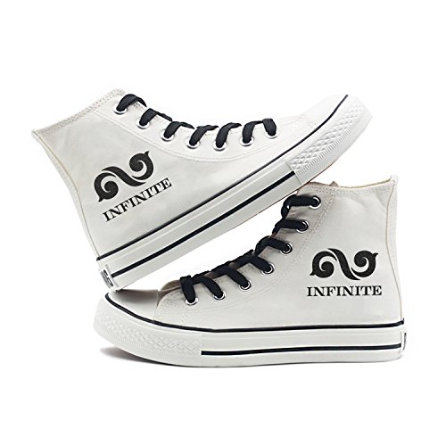 Fanstown Kpop Sneakers Canvas Shoes Womens Size Bianco Fanshion Memeber Hiphop Style Fan Support Con Lomo Card Infinite