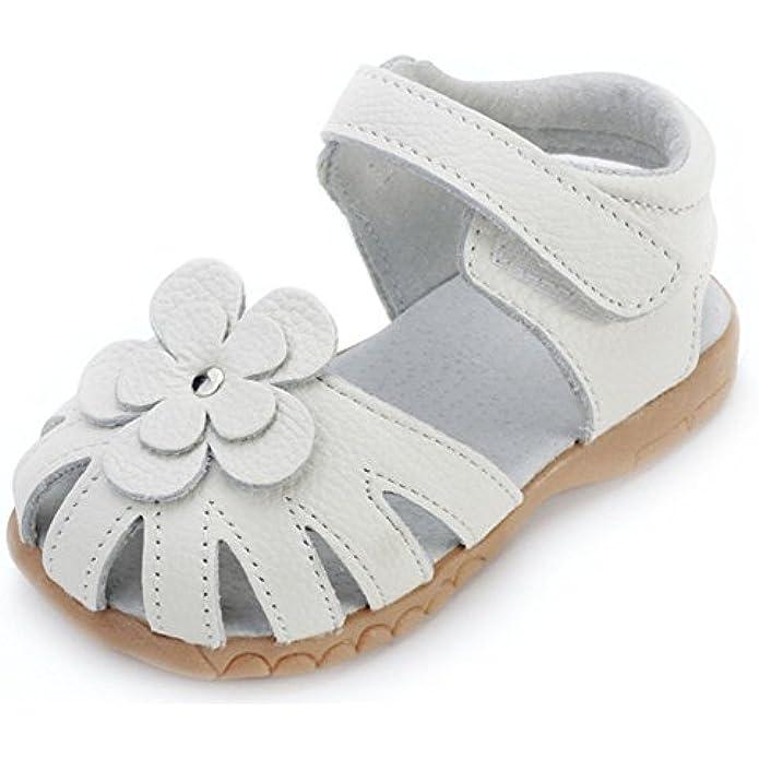 Femizee Girls Genuine Leather Soft Closed Toe Princess Flat Shoes Summer Sandals(Toddler/Little Kid)