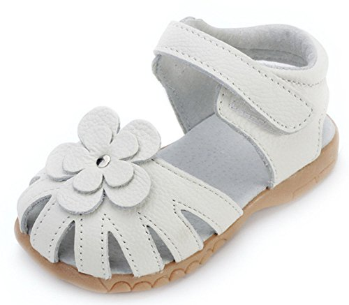 Femizee Girls Genuine Leather Soft Closed Toe Princess Flat Shoes Summer Sandals(Toddler/Little Kid) White,1504 CN20 ()