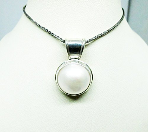 Mabe Pearl Necklace Pendant - 925 sterling silver pendant with 15 mm round white mabe pearl, white mabe pearl pendant, genuine mabe pearl necklace pendant