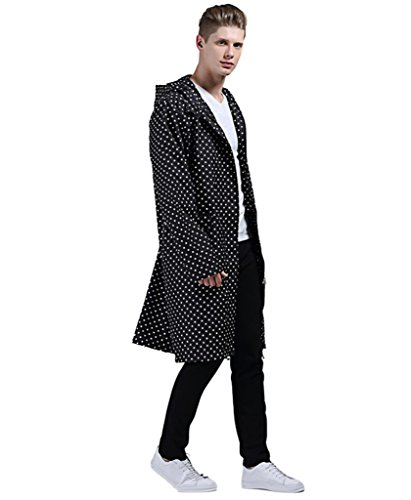 CIC Collection Men's Classic Dots Raincoat Hooded Long Waterproof Jacket (Long Raincoats For Men With Hood compare prices)