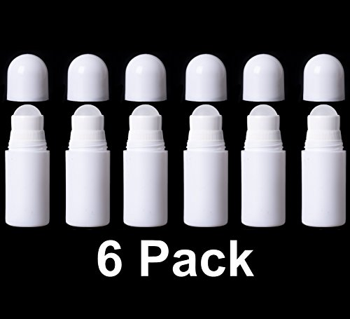 Empty Deodorant Containers Roll On (1.69oz, Pack of 6) - BPA Free Solid White Plastic, Small Size Great for Carry-On Travel, DIY Make Your Own Deodorant, Lip Balm, Lotion Bar, Moisturizer, Heel Balm (Liquid Deodorant Perfume)