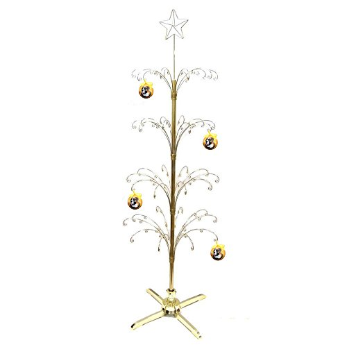 hohiya metal christmas ball ornament display tree rotating stand brass plated 90 hooks 74inchgold - Metal Christmas Tree Ornament Display