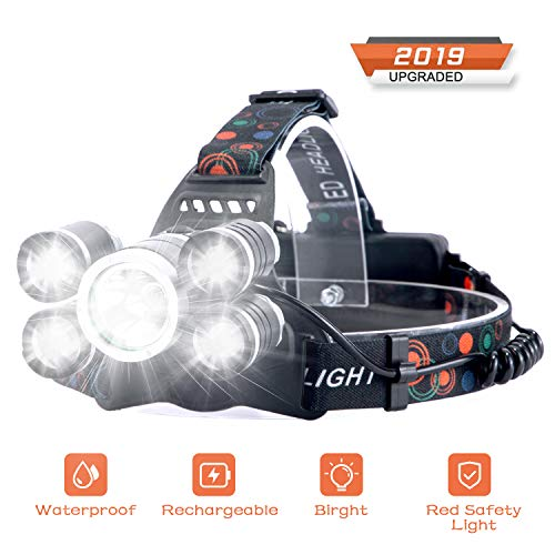 Headlamp Rechargeable LED Headlight 4 Modes, LED Waterproof Work Headlight, Brightest 10000 Lumens Flashlight, Recharged by USB/Plug in/Car Charger (All Include), for Camping, Running, Hiking, Fishing