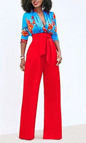Bendare Rosso Lunghi Tinta Unita Nuovo con Donne Alta Larga Gamba Pantaloni Moda Casual Pants Vita q7U86qH4w