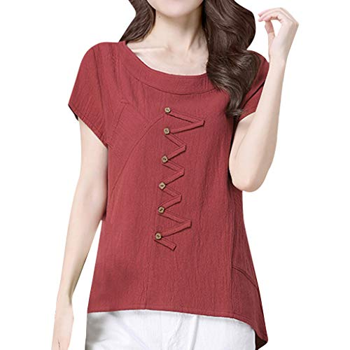 Cute Tops for Women,YEZIJIN Fashion Women Summer O-Neck Short Sleeve Buttons Cotton and Linen Casual Top Tee 2019 Wine]()