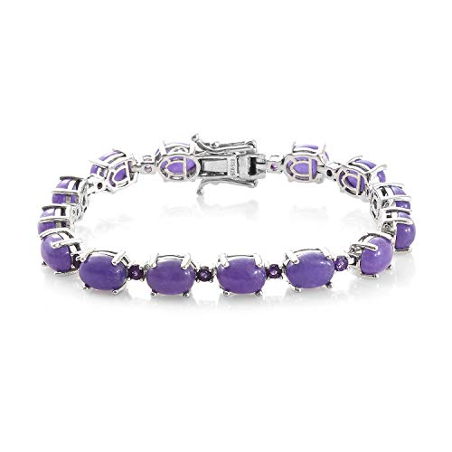 (925 Sterling Silver Platinum Plated Oval Purple Jade Stone Amethyst Link Tennis Bracelet for Women Jewelry 7