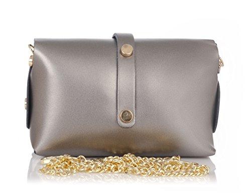 Laura Moretti - Bolso piel con cierre de cinturón (tamaño pequeño) estilo BANDOLERA o MINIBOLSO Metallic grey