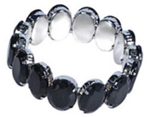 [Vintage Hollywood Starlet Flapper Costume Black Rhinestone Stretch Bracelet] (Hollywood Starlet Dress Costumes)