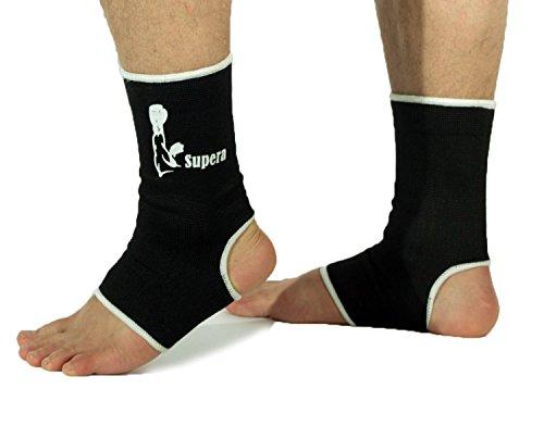 SUPERA Fußbandage elastisch Fußgelenkbandage MMA, Martial Arts 1 Paar Schützbandage Knöchelbandage Sprunggelenkbandage Kickboxen (schwarz, M)