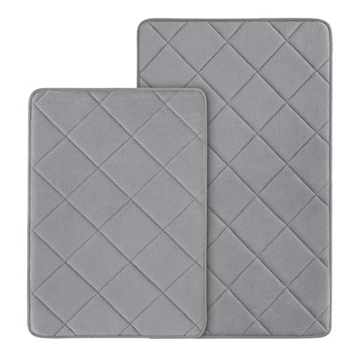 HOMEIDEAS 2 Pieces Grey Memory Foam Bathroom Rugs Set, Velvet Surface Non Slip Bath Mat Sets, Water Absorbent & Washable…