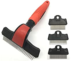 KUDI Pet Grooming Brushes, Pet Rakes, Pet Combs, Deshedding Tools 4 in 1 Kit for Small, Medium & Large Dogs & Cats