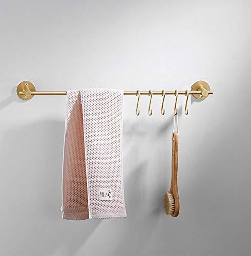Rails Towel Brass - 21.6 Inch Towel Bar with 5 S Shaped Hooks,Brass Towel Holder Brushed Gold Towel Rack for Bathroom Kitchen
