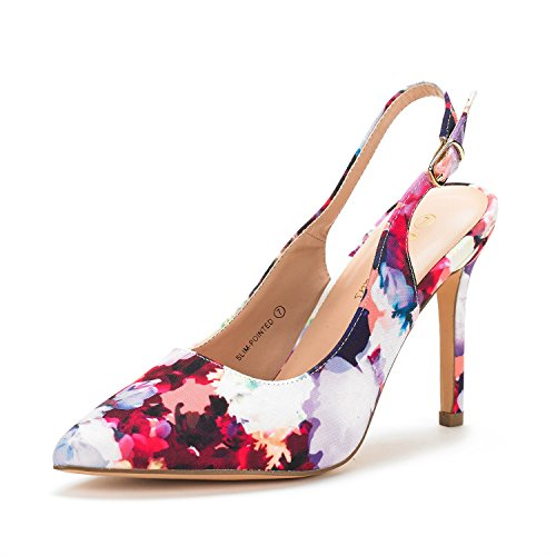 DREAM PAIRS Women's Slim-Pointed Floral High Heel Pump Shoes - 6 M (Floral High Heel Pump)