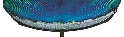 "Evergreen Blue Sea Glass Bird Bath with Metal Stake - 11""L x 11""W x 26.75""H"