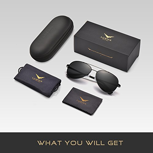 UV Noir LUENX Protection Homme Lunettes 400 60mm de Soleil PCagBCwq