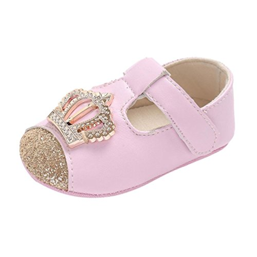LNGRY Shoes,Toddler Kids Baby Girls Crown Pattern Bling Anti-Slip Soft Sole Prewalker Crib Shoes (0-6 Months, Pink)